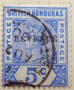1899 1900 stamp overprinted revenue for post and fiscal use british honduras ultramarine color postage 5 c