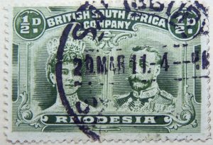 1910 king george v, 1865 1936 & queen marie, 1867 1953 british south africa company rhodesia green color stamp half penny