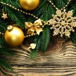 christmas balls gold snowflakes stars branches spruce new year 7726