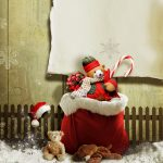 christmas decoration 2560x1440 present gifts teddy bear snow 4k 3947
