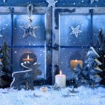 christmas decoration 2560x1440 snowfall candles 5k 3975