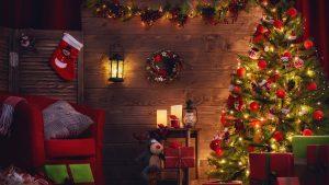 christmas decoration 2560x1440 xmas tree gifts 5k 6804