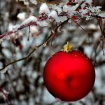 christmas ornaments in the snow 14056