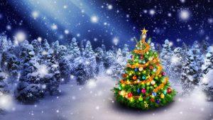 christmas tree 3840x2160 spruce trees decoration snowfall 5k 3960
