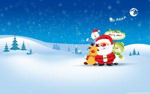 merry christmas 2560x1600 santa claus snowman hd 3806