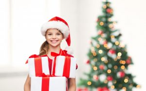 merry christmas tree little girl happy smile child gifts new year 10483