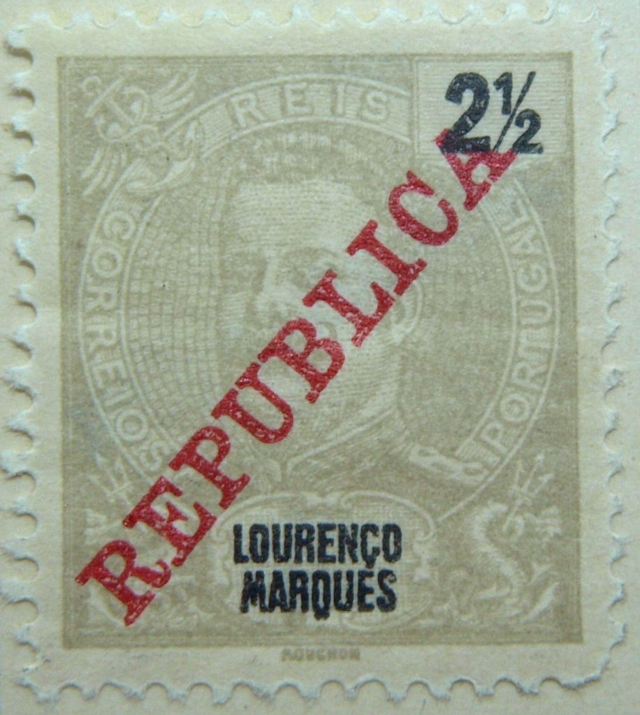 lourenco marques old stamp republica 2 and half grau grey maputo mozambique portugal reis correios