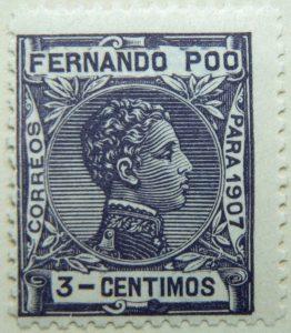 fernando poo bioko island 3 centimos black old stamp para 1907 correos