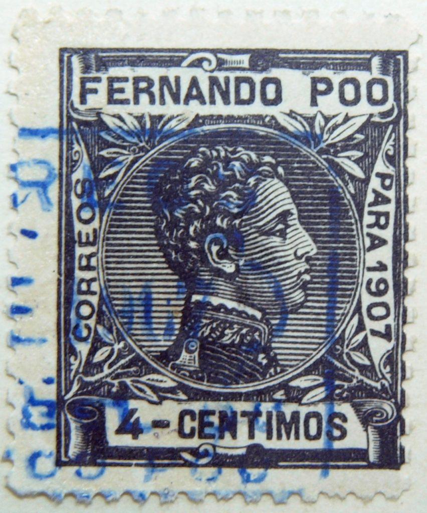 fernando poo bioko island 4 centimos black old stamp para 1907 correos