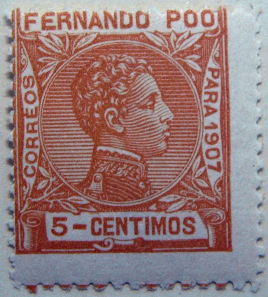 fernando poo bioko island 5 centimos orange old stamp para 1907 correos